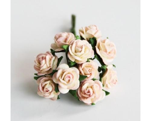 """розы """"Молочный+св. розовый"""" 1 см, 10 шт."""