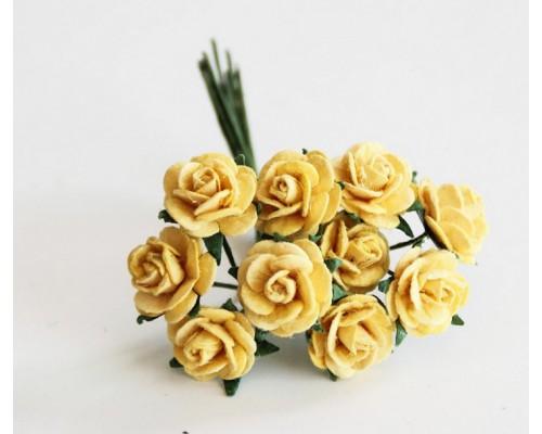 """розы бумажные """"Жёлтые"""" 1 см, 10 шт."""