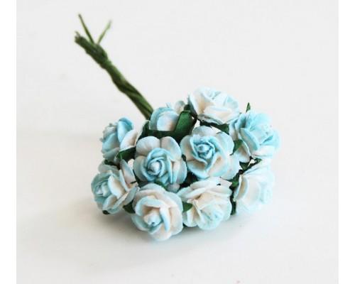 розы бело-бирюзовые 1 см, 10шт.