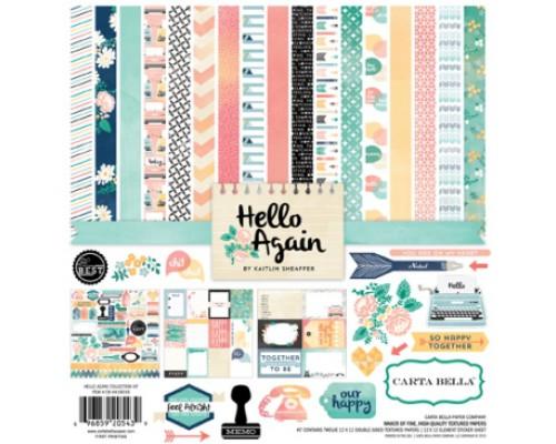 "Набор бумаги и стикеры ""Hello Again"" 30*30 см  Carta Bella"