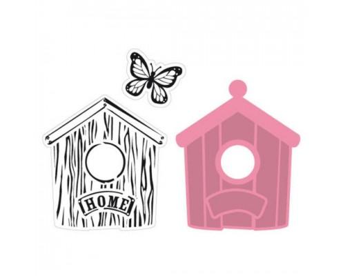 """Нож для вырубки и эмбоссирования + 2 штампа """"Birdhouse home"""" от Marianne Design"""