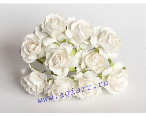 Кудрявые розы 3 см - Белые , 5 шт