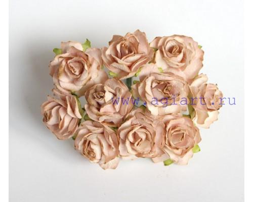 Кудрявые розы 2 см - Бежевые , 5 шт