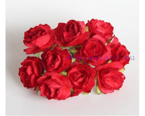 Кудрявые розы 2 см - Красные , 5 шт
