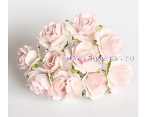 Кудрявые розы 2 см - Розово-персиковые светлые , 5 шт