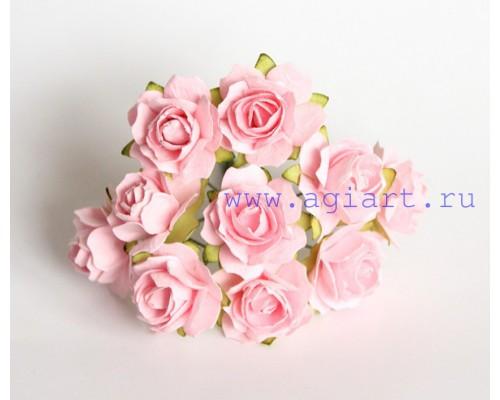 Кудрявые розы 2 см - Розово-персиковые, 5 шт
