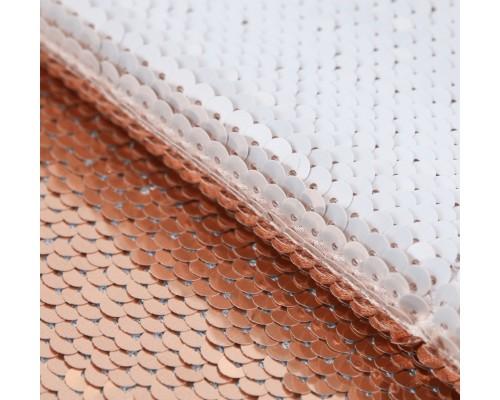 Ткань с пайетками «Белая-золотая», 33 х 33 см.