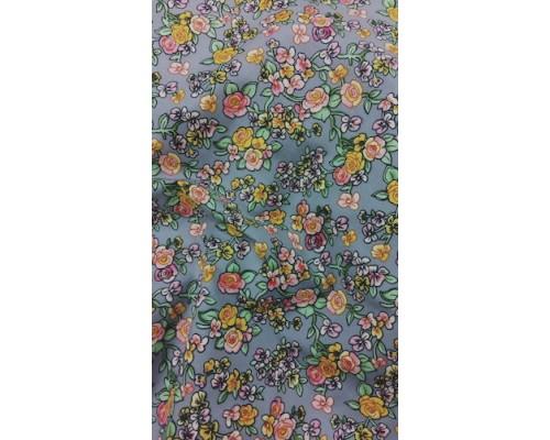 Ткань хлопок Цветочные мотивы на сером 50*50 см Гела