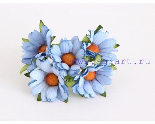 Ромашки голубые махровые 4 см, 5 шт