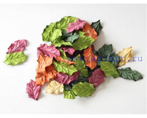 Листья остролиста микс Осенний, 4*2,5 см, 10шт