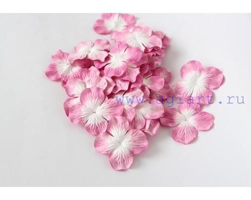Гортензии темно-розовые с белым 5 см 10 шт