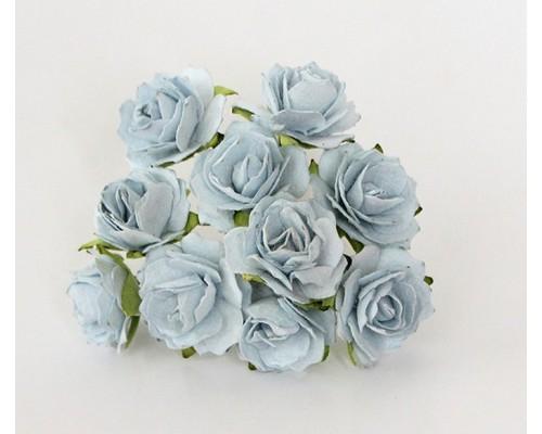 Кудрявые розы 2 см - Св.Голубые, 5 шт
