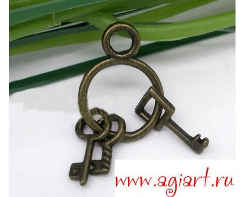 Металлическая подвеска связка ключей 27mm*12.5mm