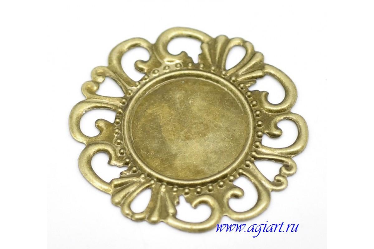 """Металлическое украшение """"Филигранный круг"""", бронза 3,5 см"""