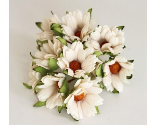 Ромашки белые махровые 4 см, 5 шт