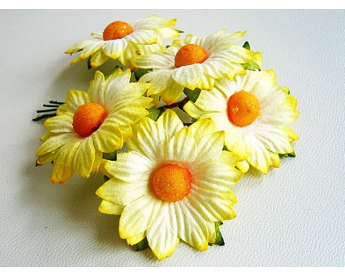 Ромашки желтые большие 3.5 см, 5 шт