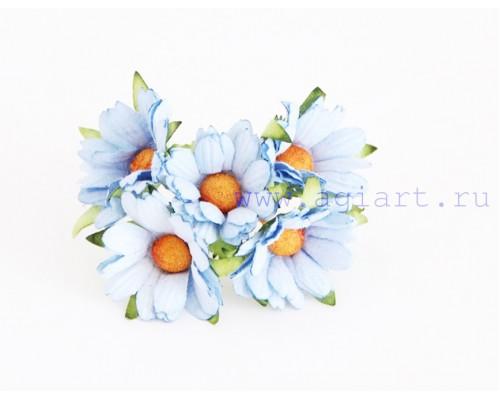 """Ромашки """"Голубые"""" махровые 4 см, 5 шт"""
