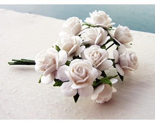 Розы белые,  1 см, 10шт.