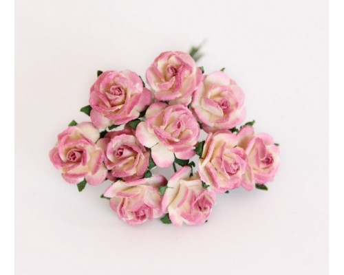 """розы """"Молочный+ягодный"""" 1,5 см, 10шт."""
