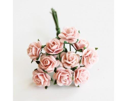 """розы """"Розово-персиковые"""" 1 см, 10 шт."""