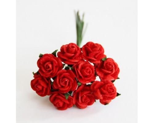 розы красные 1 см, 10шт.