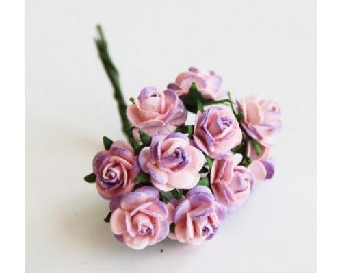 """розы """"сиреневый+розовый"""" 1 см, 10 шт."""