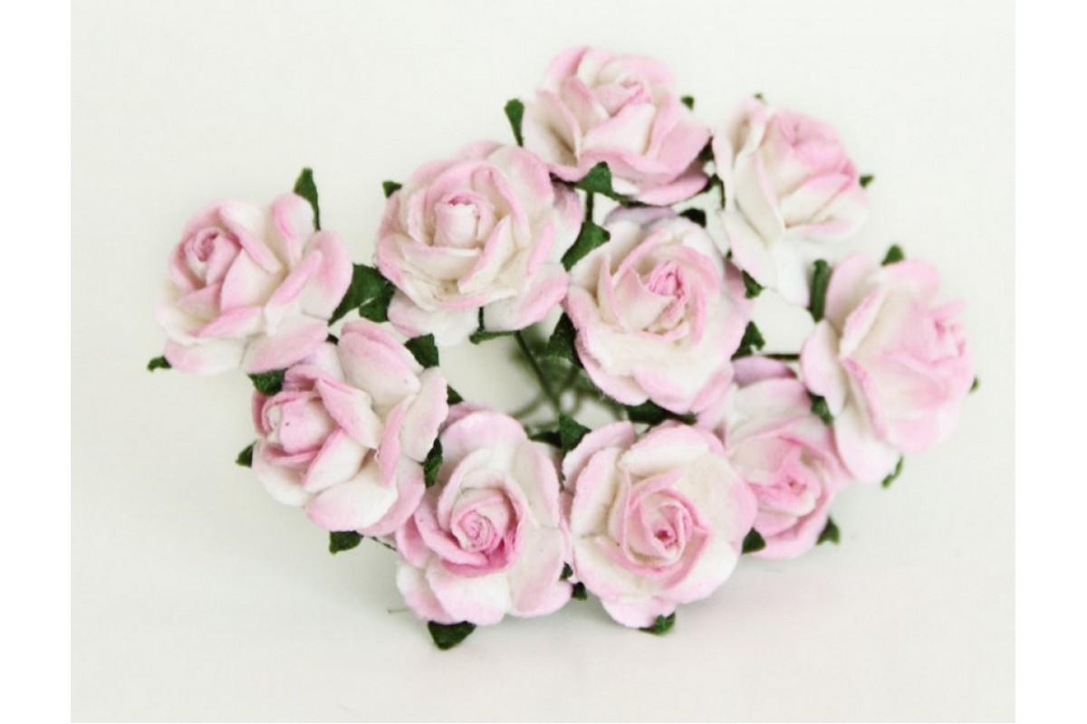 розы розово-белые 1,5 см, 10шт.