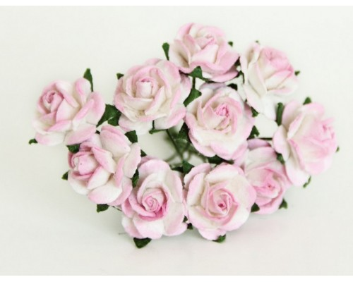 розы св. розово-белые 1,5 см, 10шт.
