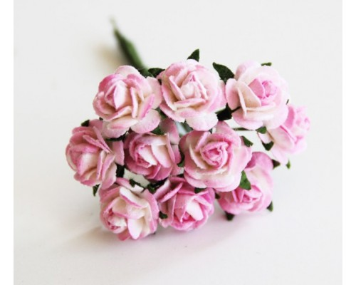 розы розово-белые,  1 см, 10 шт.