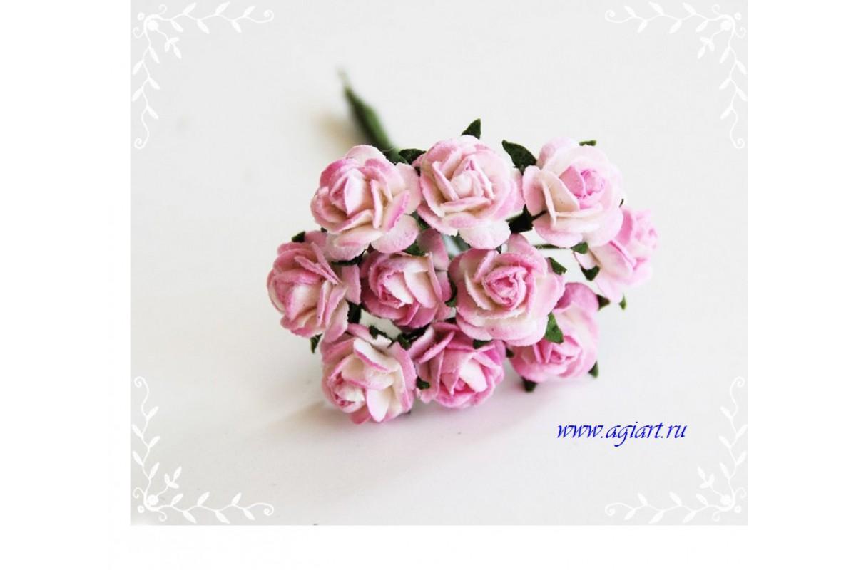 """розы """"розовый с белым"""" 1,5 см, 10 шт."""