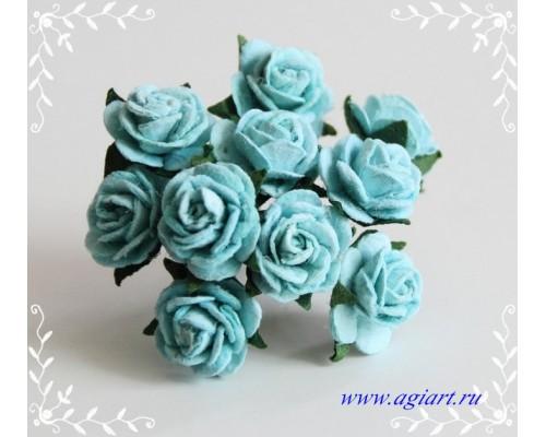 розы бирюзовые 1,5 см, 10шт.
