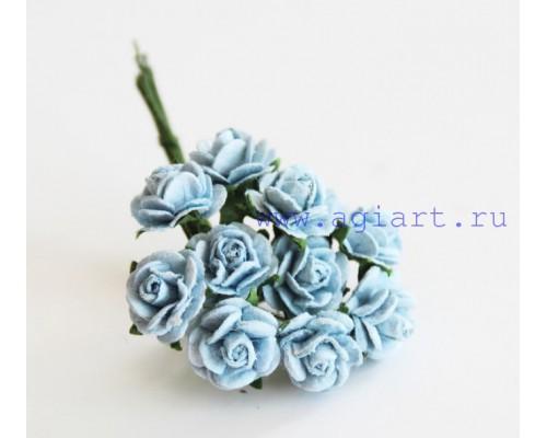 розы голубые 1 см, 10шт.