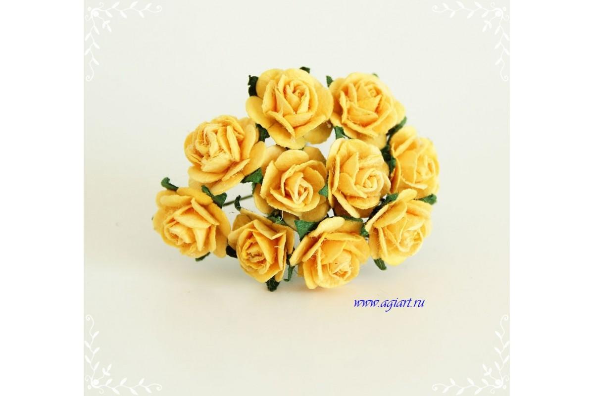 Розы желтые 1.5 см, 10шт.