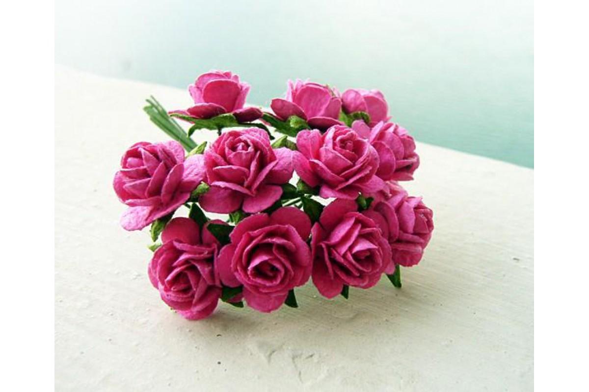 розы фуксия 1 см, 10шт.
