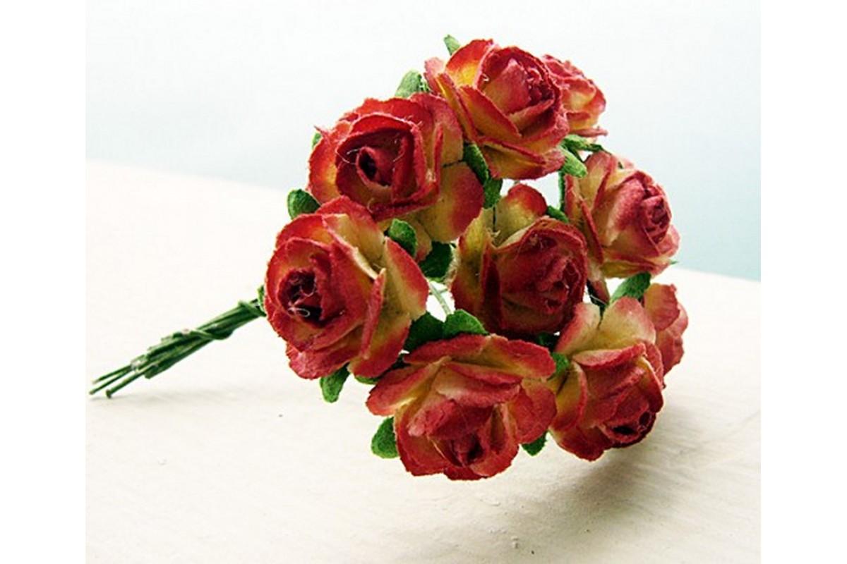 розы красно-желтые 1,5 см, 10 шт.