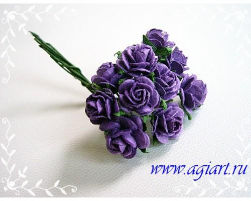 """розы """"Темно-фиолетовые"""" 1 см, 10 шт."""