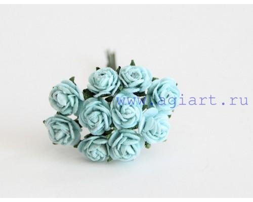 розы бирюзовые 1 см, 10 шт.