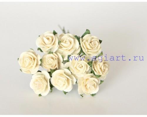 розы молочные 1,5 см, 10 шт.