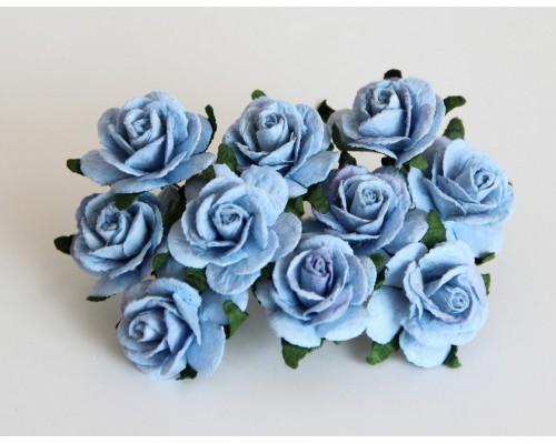 Розы голубые 2 см, 5 шт.