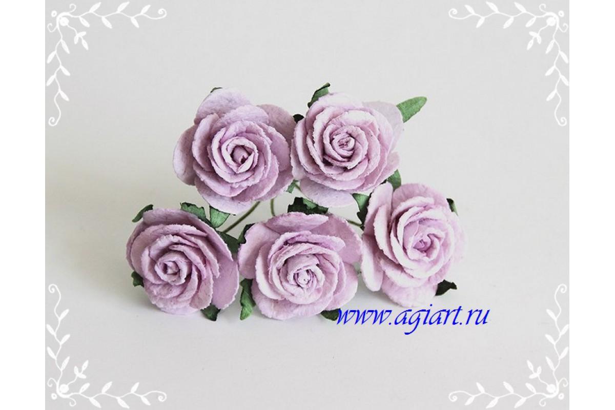 Розы св. сиреневые размер 2,5 см 5 шт