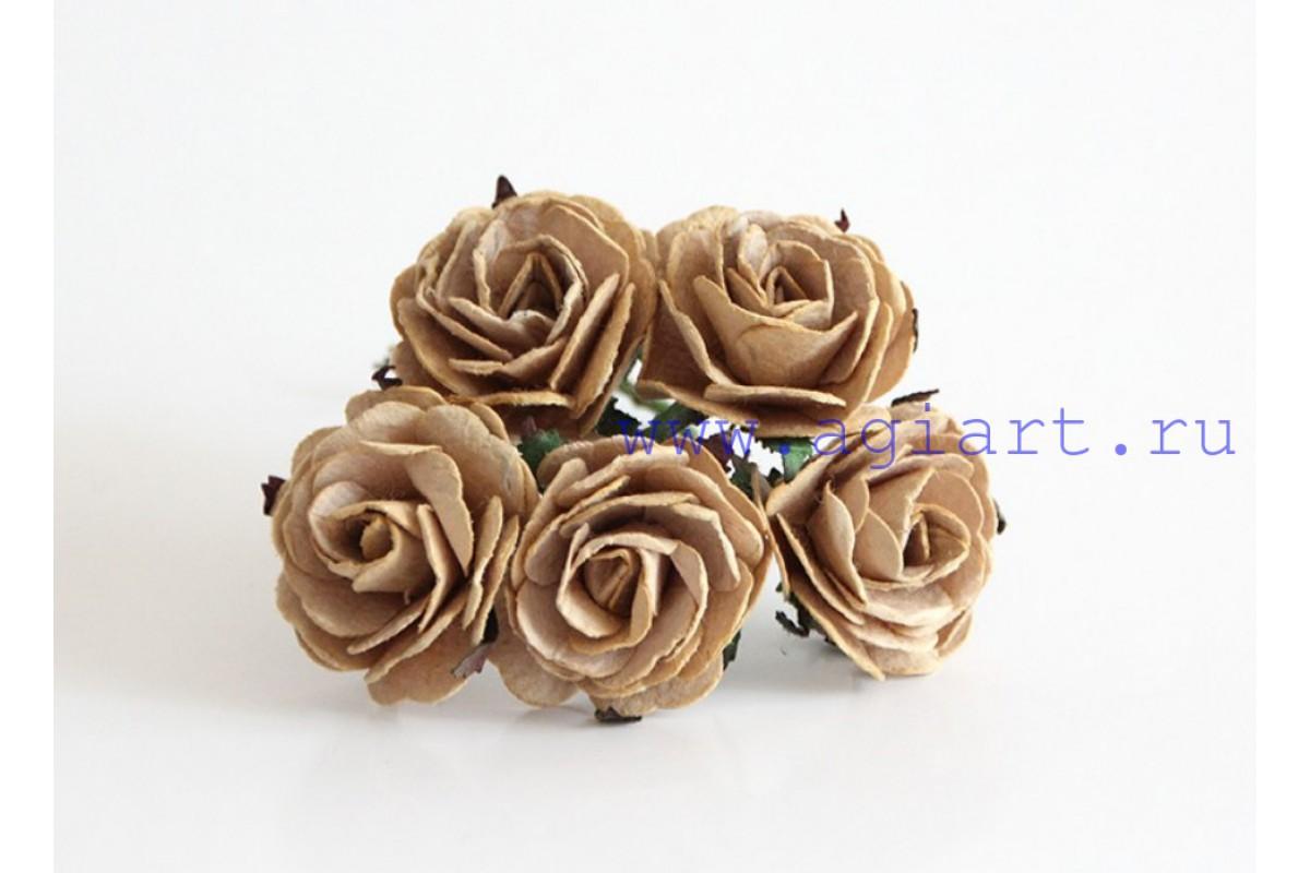 Роза крупная кофейная 4 см. 1 шт