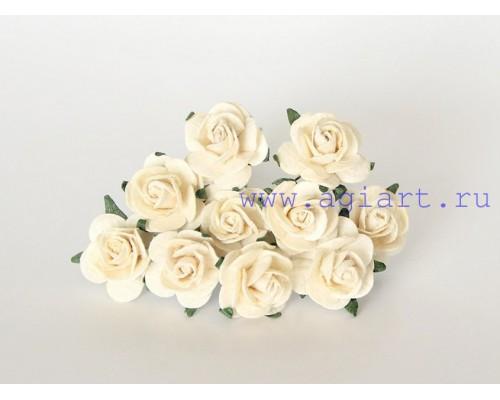 Розы молочные 2 см, 5 шт.