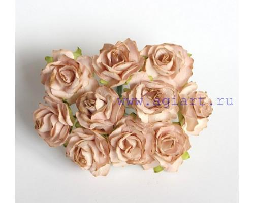 Кудрявые розы 3 см- Бежевые , 5 шт
