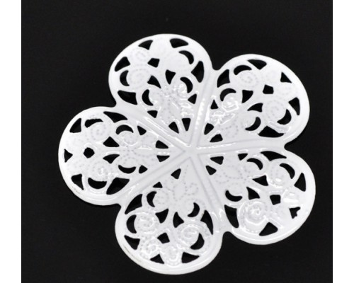 Металлическое украшение/филигрань Цветок белый 36*36